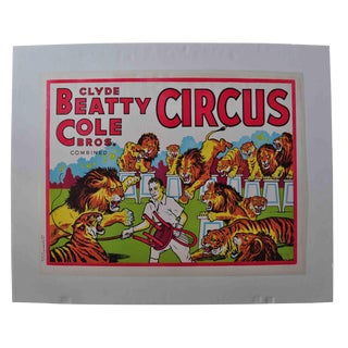 Clyde Beatty-Cole Bros. Circus Poster #2 For Sale