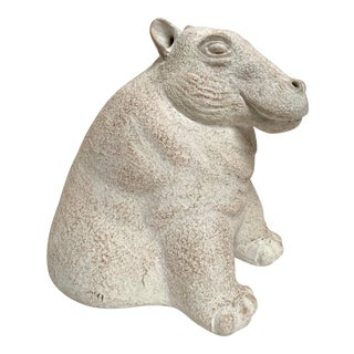 Final Markdown 1980s Paul Bellardo for Austin Productions Cast Plaster Hippo Sculpture For Sale