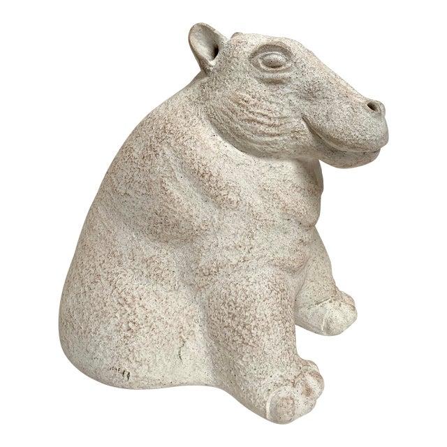 Final Markdown 1980s Paul Bellardo for Austin Productions Cast Plaster Hippo Sculpture For Sale