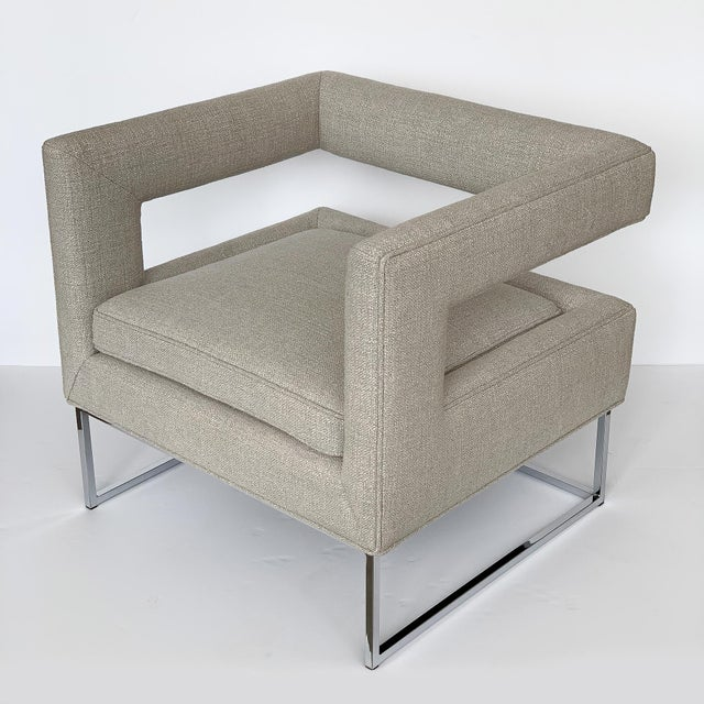 Milo Baughman Open Back Lounge Chairs - a Pair For Sale In Chicago - Image 6 of 13