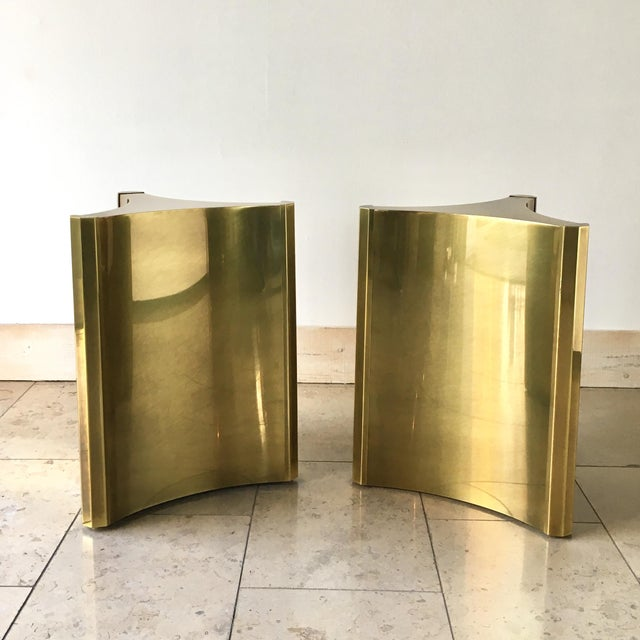 Brass Pair of Mastercraft Designed Pedestal Table Bases 1970s For Sale - Image 7 of 7