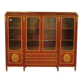 French Louis XVI Italian Made 4 Door Bookcase China Cabinet