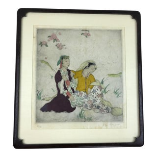 Framed Elyse Ashe Lord Hand Colored Etching For Sale