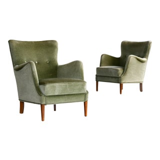 1950s Danish Peter Hvidt and Attributed Lounge Chairs Green Mohair - a Pair For Sale