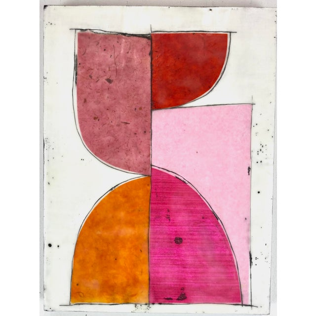 "Wood ""Tickled"" Encaustic Collage Painting - 9 Piece Installation by Gina Cochran - Pink & Orange For Sale - Image 7 of 13"