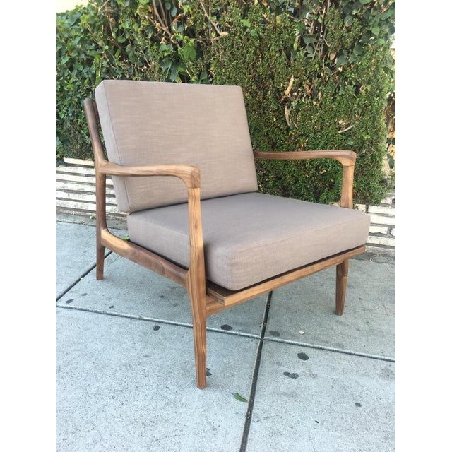 Animal Skin Custom Walnut Lounge Chair in Soft Taupe Gray For Sale - Image 7 of 13
