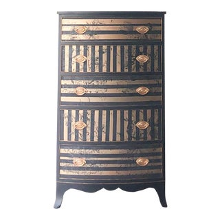 The Beacon Hill Collection Vintage Hollywood Glam Gold and Black Striped Chest of Drawers For Sale
