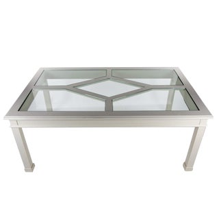 Contemporary White Wooden Dining Table With Glass Panel Top For Sale