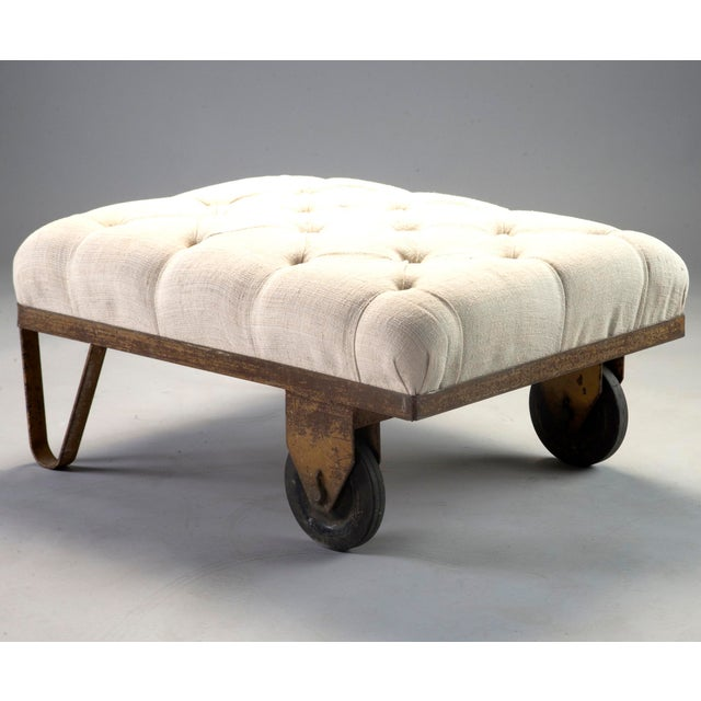 Linen 1930s Tufted Ottoman Bench Stool with Industrial Wheelbarrow Base For Sale - Image 7 of 13