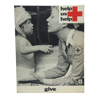 "1950 Vintage ""Help Us Help - Give"" Red Cross Sign For Sale"