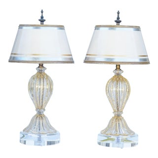 Italian Miniature Oro Clear and Gold Murano Lamps ...Gold Fleck - a Pair For Sale