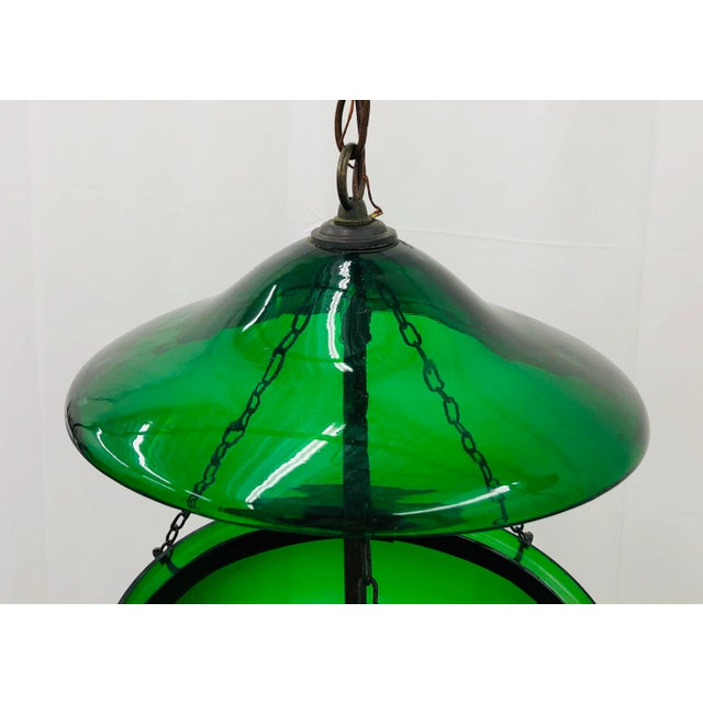 Traditional Green Glass Bell Jar Pendant For Sale - Image 10 of 13