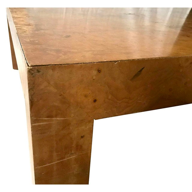 Hollywood Regency 1970s Mid-Century Modern Burl Wood Square Coffee Table For Sale - Image 3 of 13