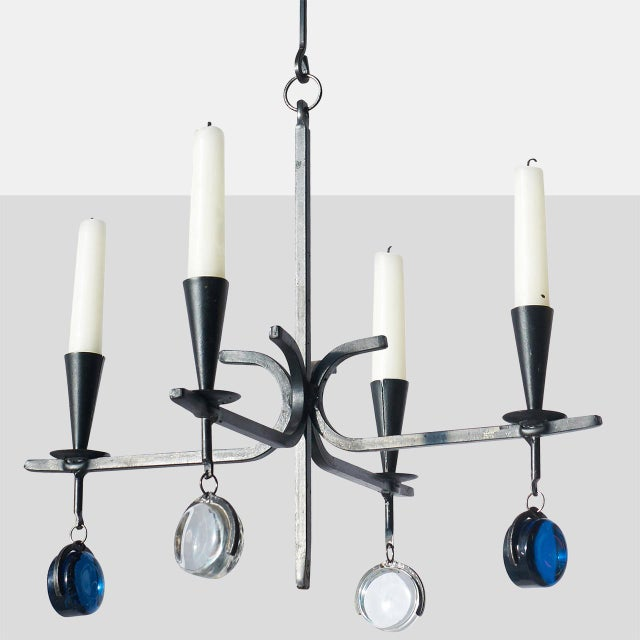 Metal Chandelier with Four Arms by Gunnar Ander For Sale - Image 7 of 7