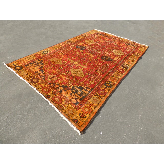 "Vintage Turkish Geometric Pattern Red & Orange Rug - 9'8"" X 6' - Image 5 of 11"