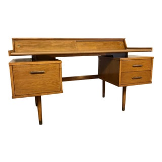 Mid Century Drexel Biscayne Walnut Desk With Floating Top For Sale