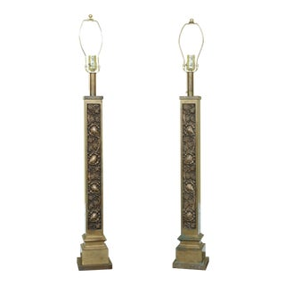 Pair Heavy Solid Bronze Arts & Crafts Grapevine Lamps For Sale