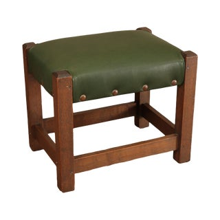 Antique Mission Oak Foot Stool with Green Leather For Sale