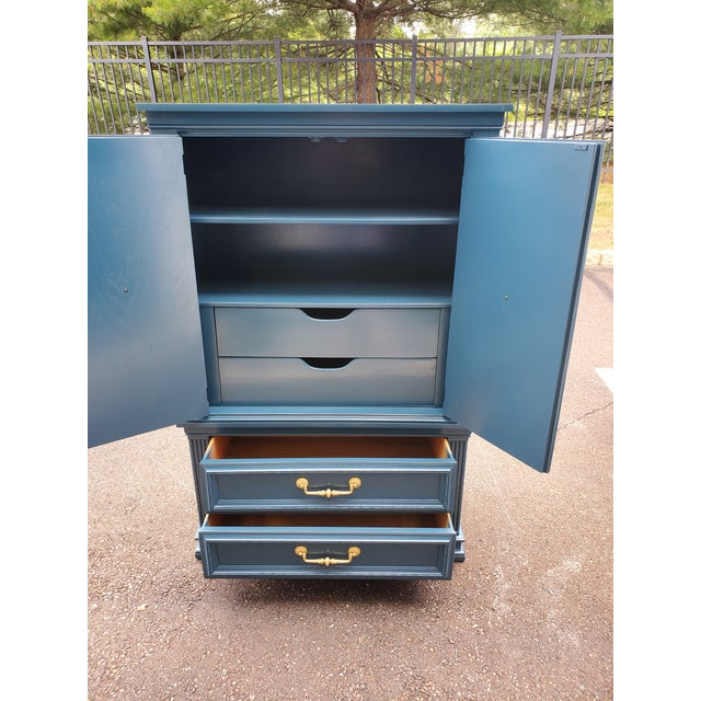 Vintage Moscow Midnight Blue Armoire For Sale - Image 11 of 12