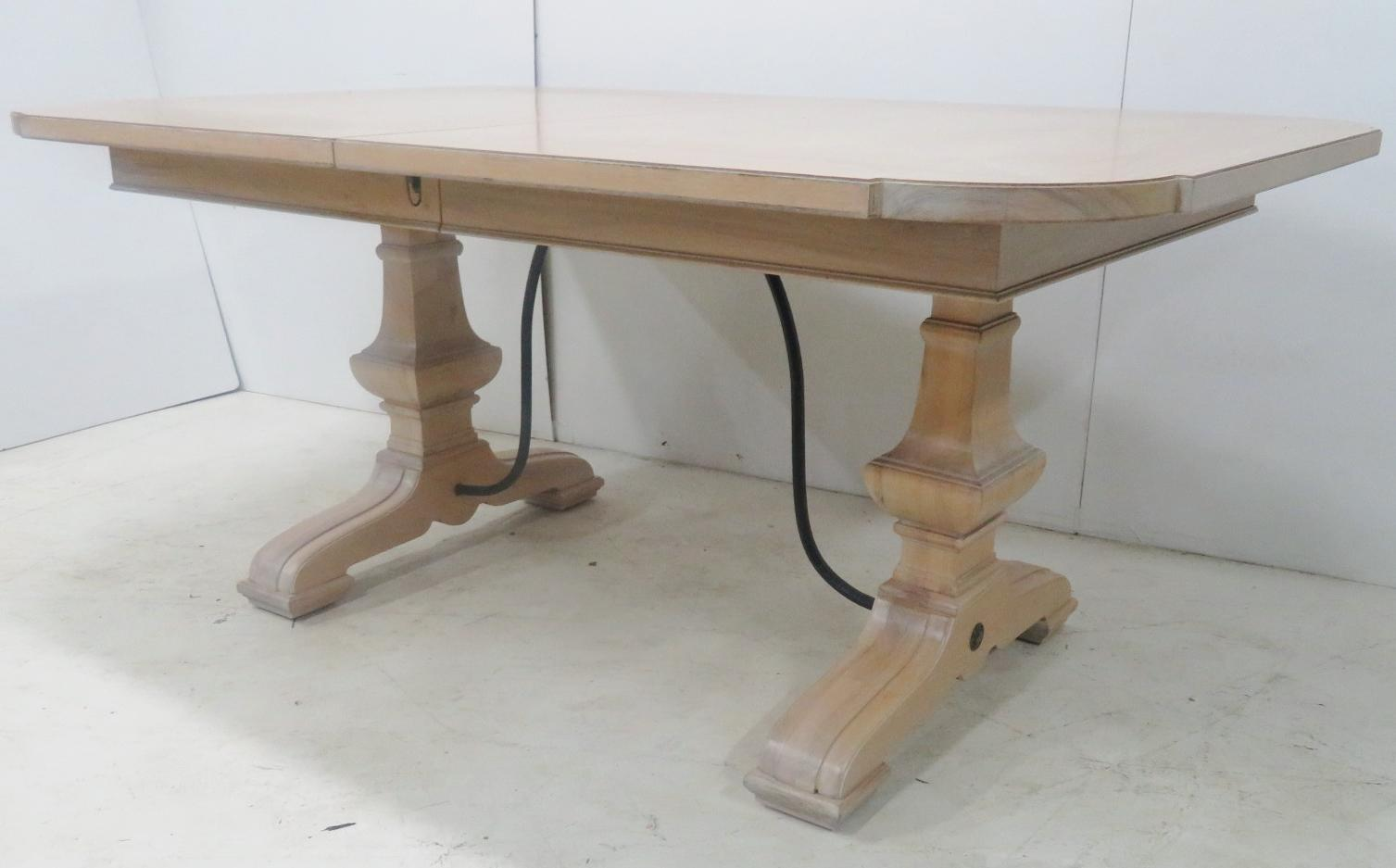 Charmant Oak Country French Trestle Table With White Pickled Finish, Iron Stretcher  Base . A Provincial