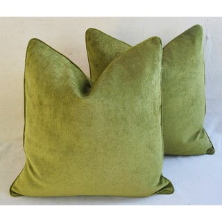 """Forest Green Velvet Feather/Down Pillows 24"""" Square - Pair Preview"""