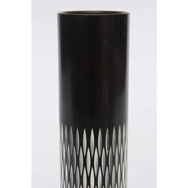 Metal Graphic Diamond Patterned Vase or Pen Holder For Sale - Image 7 of 8