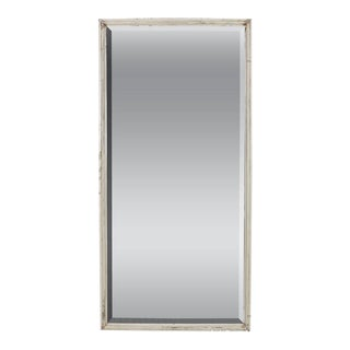 French White Framed Beveled Mirror For Sale