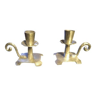 Mid-Century Forged Aluminum Candle Holders - a Pair For Sale