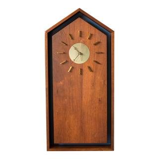 Mid-Century Modern Walnut Clock For Sale
