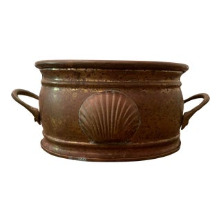1990s Brass Cachepot With Seashell Detail For Sale