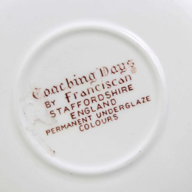 """Franciscan China Anitque Brown Transferware """"""""Coaching Days"""""""" Cups and Saucers by Franciscan, Set of 5 For Sale - Image 4 of 5"""