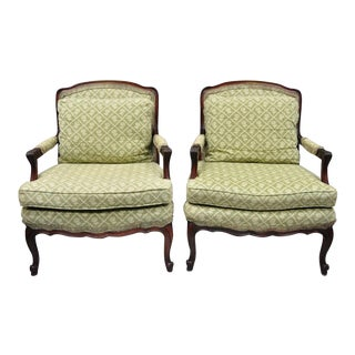 Vintage Mid Century French Country Louis XV Style Mahogany Bergere Chairs Armchairs- a Pair For Sale