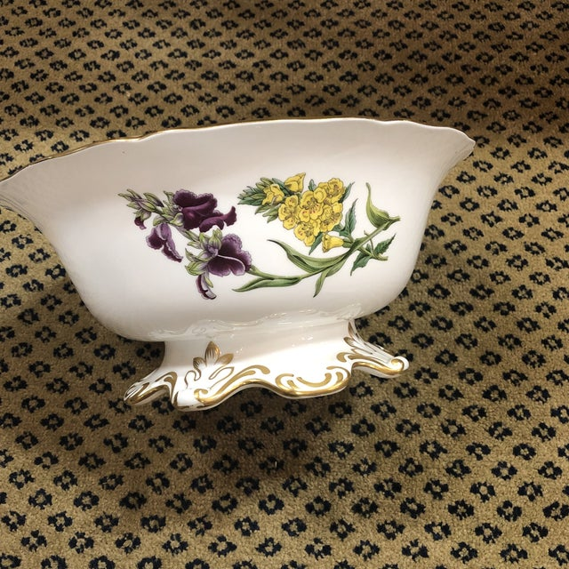 English Traditional Spode Scalloped Rim Botanical Bowl with Gold Details For Sale - Image 3 of 7