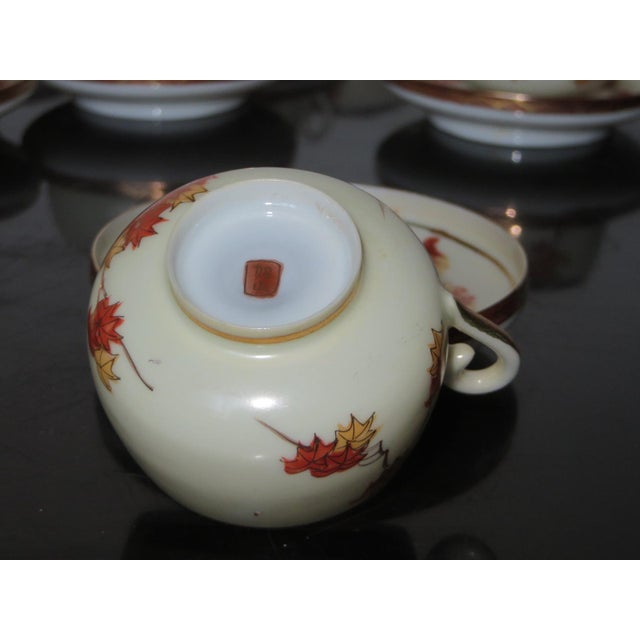 Vintage Chinese Porcelain Espresso Cups & Saucers, Coffee Pot, Creamer, Sugar Bowl & Dessert Plate - Service for 9 - Image 6 of 10