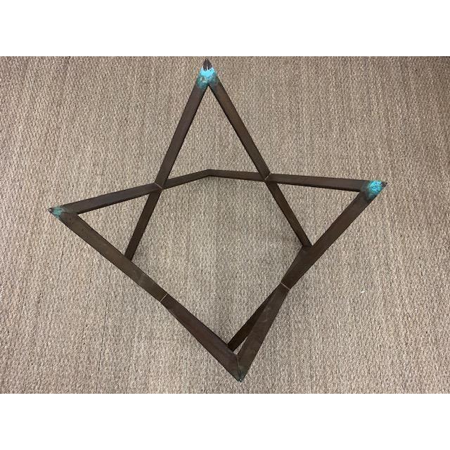 Metal Mid Century Bronze Interlocking X Table Base For Sale - Image 7 of 12