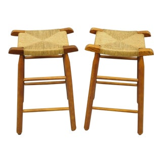 Late 20th Century Vintage Mission Arts & Crafts Stools- a Pair For Sale
