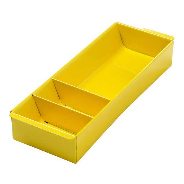 Steel Tanker Drawer Insert Repurposed as Desktop Organizer, Refinished in Yellow For Sale