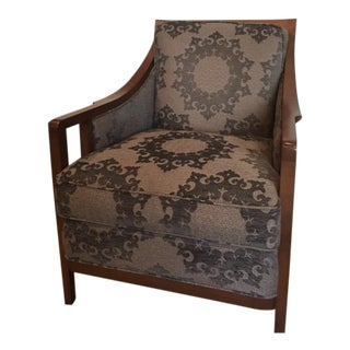 Modern Pearson Wood and Fabric Arm Chair For Sale