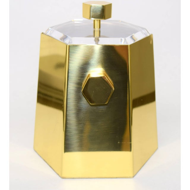 1970s Brass and Lucite Hexagonal Ice Bucket by Charles Hollis Jones For Sale - Image 5 of 10
