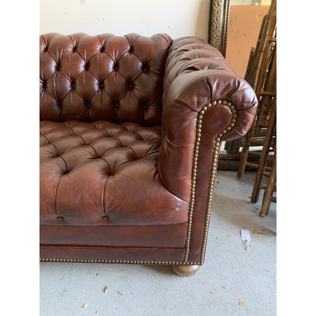 1970s Vintage Chesterfield Leather Sofa For Sale - Image 5 of 9
