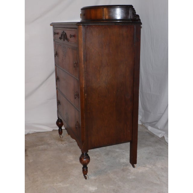 1920s antique art deco walnut dresser bureau chest of drawers demilune top image 7 of