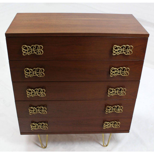 Early 20th Century Mid Century Modern Pyramid Shape High Chest with Large Bow or Butterfly Pulls For Sale - Image 5 of 10