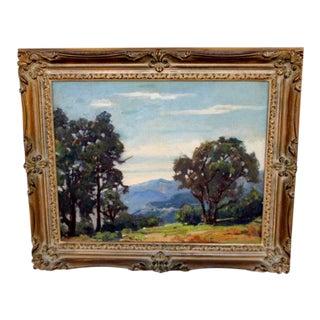1950s Vintage Landscape Oil on Panel Painting For Sale