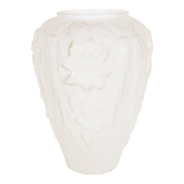 Art Deco Relief Frosted Glass Vase with Cubist Floral and Geometric Design For Sale