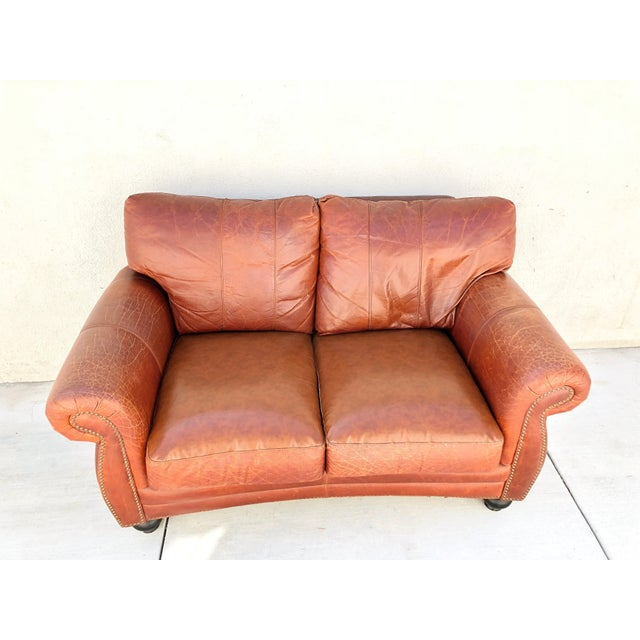 Animal Skin Vintage Rapallo Italian Leather Sofa For Sale - Image 7 of 8