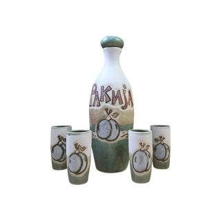 Belgrade Serbia Stoneware Plum Wine Decanter Set - 5 Piece For Sale
