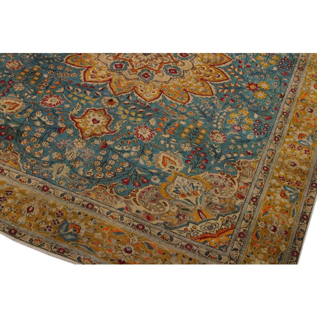 Traditional Hand Painted Solis Wool Rug - 9′8″ × 12′4″ For Sale - Image 3 of 8