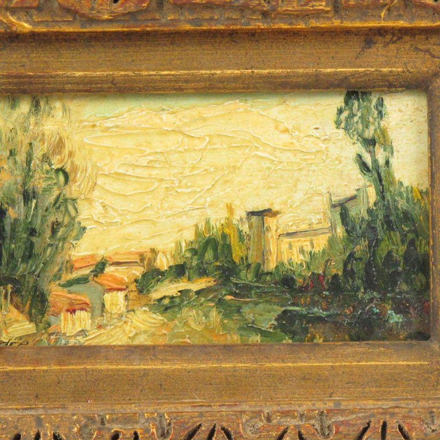 Mid 20th Century 20th Century Alexandre Mediterranean Landscape Miniature Painting For Sale - Image 5 of 9