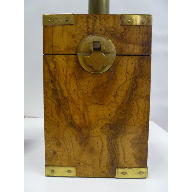 Brown 1970s Campaign Style Burl Wood Faux Tea Box Table Lamps - a Pair For Sale - Image 8 of 13