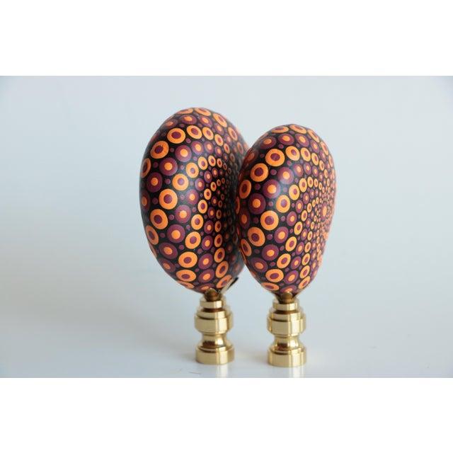 Mandala Stone Lamp Finials - a Pair For Sale - Image 4 of 6